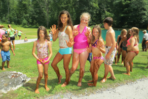 Deer Run Campground girls posing pool